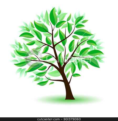 Stylized tree with green leaves. stock photo, Stylized tree with green leaves. Illustration on white background by dvarg