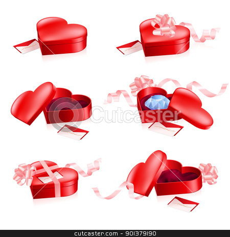 Set of Red boxes in heart shape stock photo, Set of Red boxes in heart shape. Illustration on white background. by dvarg