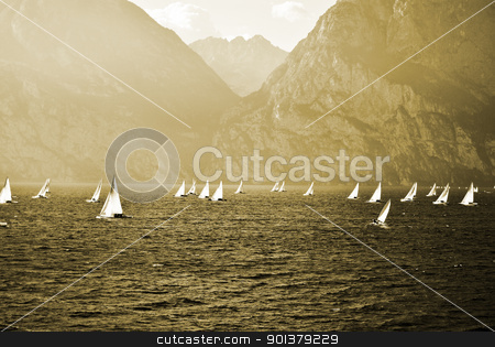 sailing yachts stock photo, The sailing yachts compete in speed by freeteo