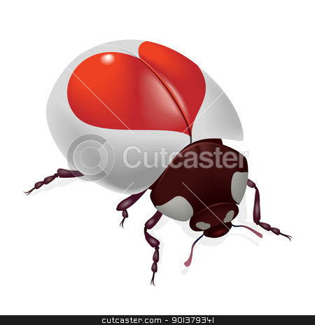 Ladybug with red hearts stock photo, Ladybug with red hearts. Illustration on white background by dvarg