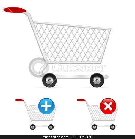 Empty shopping cart stock photo, Empty shopping cart. Illustration on white background  by dvarg