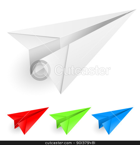 Colorful paper airplanes stock photo, Colorful paper airplanes. Illustration on white background for design.  by dvarg