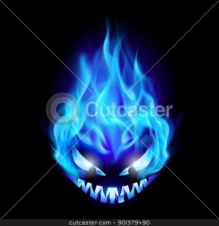 Halloween symbol stock photo, Blue Evil burning Halloween symbol. Illustration on black background by dvarg