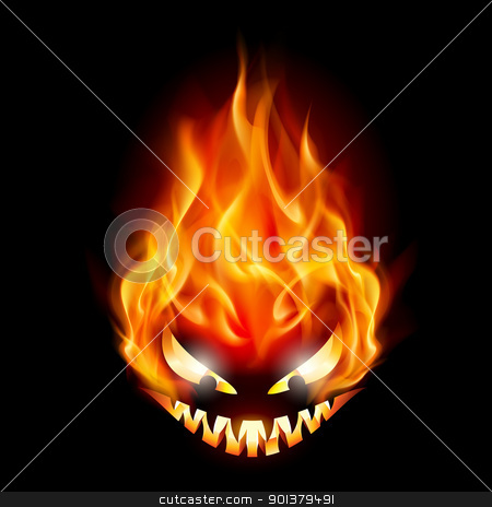 Halloween symbol stock photo, Evil burning Halloween symbol. Illustration on black background by dvarg