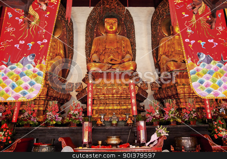 Buddhist Statues Jade Buddha Temple Jufo Si Shanghai China stock photo, Buddhist Statues Jade Buddha Temple Jufo Si Shanghai China Most famous buddhist temple in Shanghai by William Perry