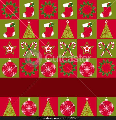 Christmas ornament seamless pattern greeting card stock photo, Christmas ornament seamless pattern red green background by meikis
