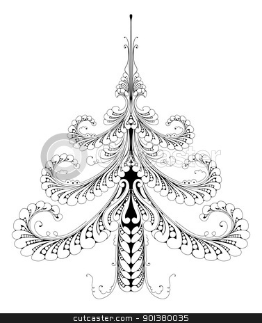 Beautiful abstract pattern Christmas tree stock vector clipart, Illustration of a beautiful festive abstract pattern Christmas tree  by Christos Georghiou