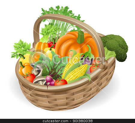 Basket fresh vegetables stock vector clipart, Illustration of basket or hamper of assorted of fresh tasty vegetables by Christos Georghiou