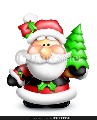 Gumdrop Cartoon Santa Holding Christmas Tree stock photo, An adorable Santa holding a Christmas tree. by Bill Fleming