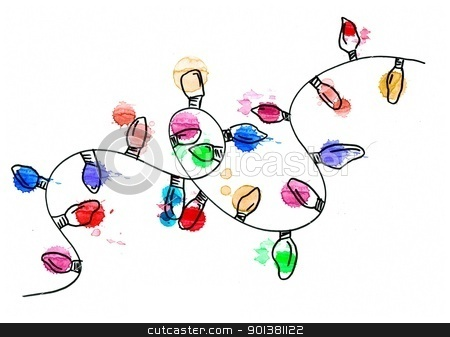 Hand drawn christmas string lights stock photo, Hand drawn christmas string lights by Jeremy Baumann