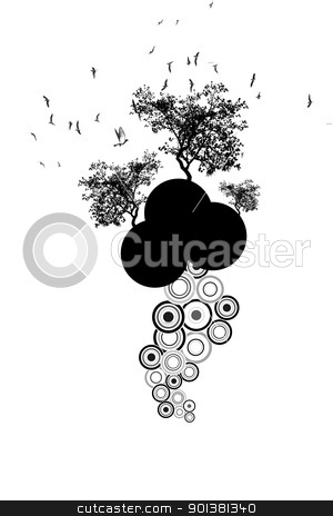 Trees and birds stock vector clipart, Beautiful silhouette of trees and birds  by Ingvar Bjork