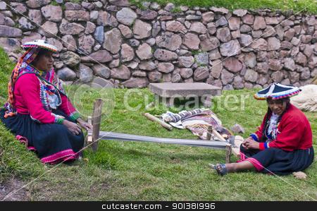 Peruvian women weaving stock photo, Cusco , Peru - May 26 2011 : Quechua Indian women weaving with strap loom by Kobby Dagan