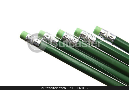 Green pencils stock photo, Green pencils closeup isolated on white background   by Ingvar Bjork