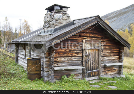 Old traditional wooden cabin  stock photo, Old and traditional wooden cabin in Sweden 