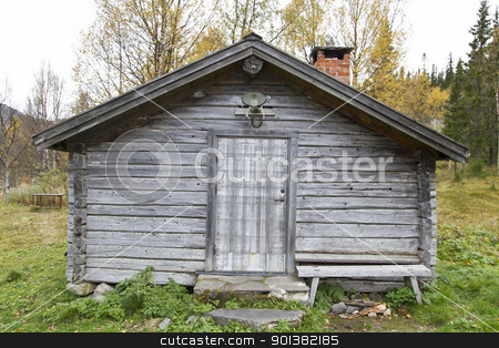 Old traditional wooden cabin in Sweden  stock photo, Old traditional wooden cabin in Sweden 