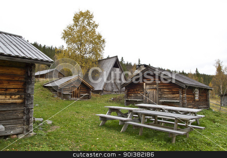 Old cabin stock photo, Old and  traditional wooden cabins in mountain  by Ingvar Bjork