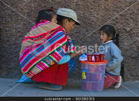 Peruvian mother stock photo, Cusco , Peru - May 28 2011 : Peruvian woman with here children in a market in Cusco Peru by Kobby Dagan