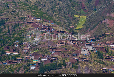 Village in the Sacred valley stock photo, Village in the Sacred valley in the Peruvian Andes by Kobby Dagan