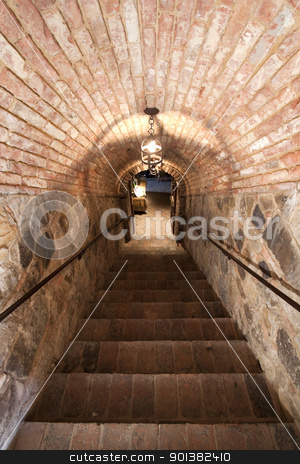 Brick Stairs stock photo, Brick stairs going into a cellar by Kevin Tietz