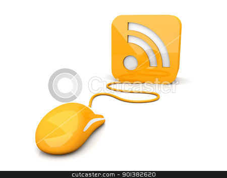 RSS Click stock photo, 3D rendered Illustration. Clicking a RSS symbol. Isolated on white.   by Michael Osterrieder