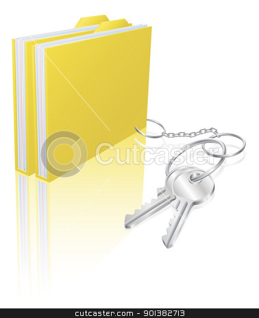 Computer file keys document security concept stock vector clipart, Illustration of file folder attached to keys as a keyring. Concept for secure file storage, access etc. by Christos Georghiou