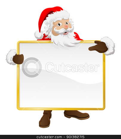 Santa holding Christmas sign and pointing stock vector clipart, Santa holding up a blank Christmas sign and pointing at it by Christos Georghiou