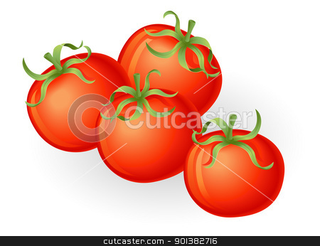 Tomatos illustration stock vector clipart, Illustration of a group of fresh tasty tomatos by Christos Georghiou