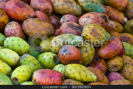 Cactus fruits stock photo, Close-up of opuntia cactus fruits in a market in Cusco Peru by Kobby Dagan