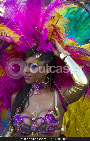 Carnaval in Montevideo stock photo, MONTEVIDEO, URUGUAY - FEB 04 2011 :  portrait of a dancer participant in the annual national festival of Uruguay ,held in Montevideo Uruguay on February 04 2011 by Kobby Dagan