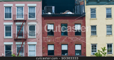 Building in New York stock photo, Front wall of a flat buildings in New York city by Kobby Dagan