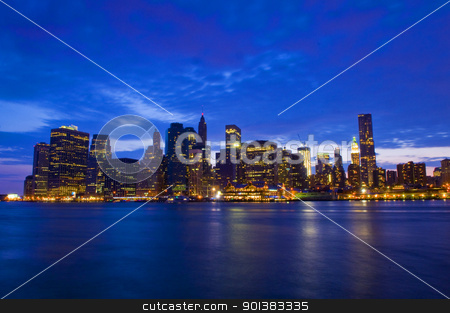 New York night skyline stock photo, New York city skyline by night taken from Brooklyn by Kobby Dagan