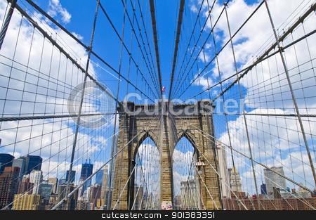 Brooklyn bridge stock photo, Architctural details of the Brooklyn bridge in New York city by Kobby Dagan