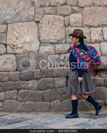Peruvian woman stock photo, Cusco , Peru - May 25 :  Peruvian woman walk in the narrow alleys of  Cusco Peru  by Kobby Dagan