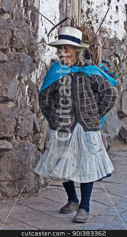 Peruvian woman stock photo, Cusco , Peru - May 26 :  Peruvian woman walk in the narrow alleys of  Cusco Peru  by Kobby Dagan