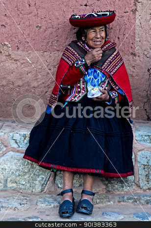 Peruvian woman stock photo, Cusco , Peru - May 26 :  Peruvian woman seat in the narrow alleys of  Cusco Peru  by Kobby Dagan