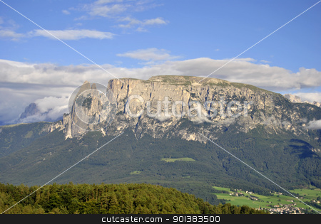Renon stock photo, Beautiful green mountain landscape with trees in Renon, Italy, South Tyrol by freeteo