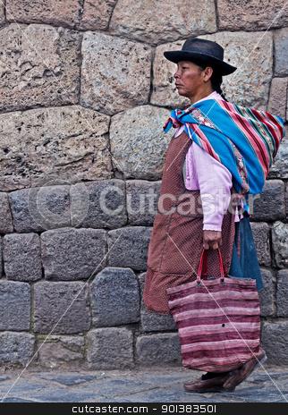 Peruvian woman stock photo, Cusco , Peru - May 25 :  Peruvian woman walk in the narrow alleys of  Cusco Peru  by Kobby Dagan