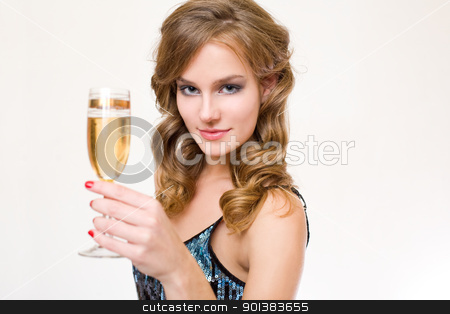 Let's party stock photo, Beautiful young blond woman holding a glass of champagne. by exvivo