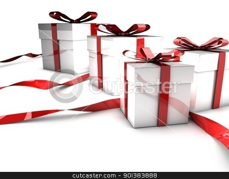 Christmas gifts stock photo, Christmas gifts with red ribbons over white background by novelo