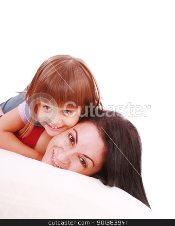 Young Mother and daugther embracing on bed  stock photo, Young Mother and daugther embracing on bed   by dacasdo
