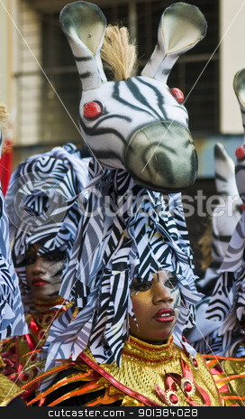 Carnaval in Montevideo stock photo, MONTEVIDEO, URUGUAY - FEBRUARY 05 2011 : A costumed carnaval participants in the annual national festival of Uruguay ,held in Montevideo Uruguay on February 05 2011  by Kobby Dagan