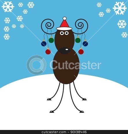 reindeer stock photo,  antler antlers art ball balls bow bows brown caricature caricatures  by tijana90