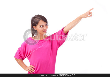 woman pointing to the side against stock photo, Portrait of happy woman pointing to the side against white background  by Grafvision