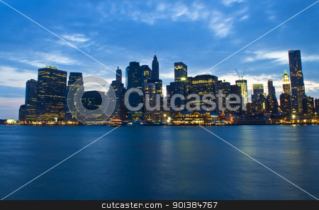 New York night skyline stock photo, New York city skyline by night taken from Brooklyn by Kobby Dagan