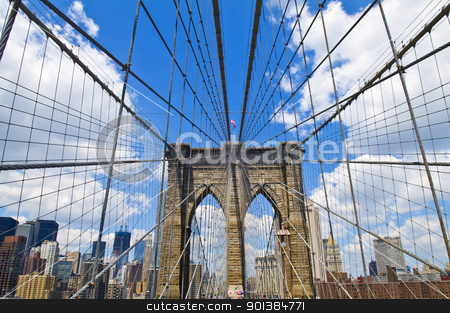 Brooklyn bridge stock photo, Architctural details of the Brooklyn bridge in New York city by Kobby Dagan
