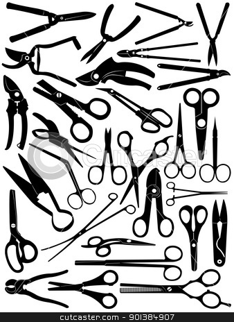 Different scissors set stock vector clipart, Different scissors set isolated on white by Ioana Martalogu