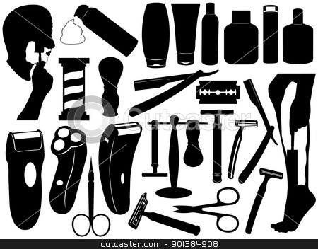 Shaving tools set stock vector clipart, Shaving tools set isolated on white by Ioana Martalogu