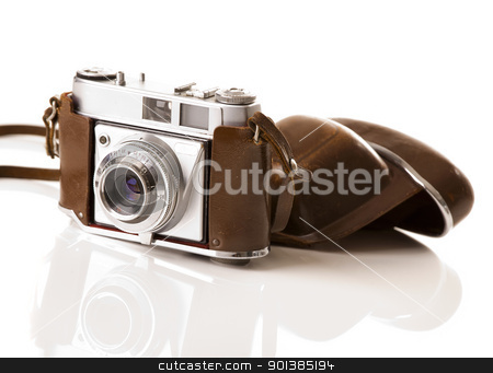 Old fashioned photography camera stock photo, Old fashioned photography camera isolated over a white background by ikostudio