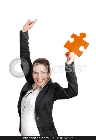 Successful woman stock photo, Happy business woman holding a big piece of puzzle, isolated on white by ikostudio