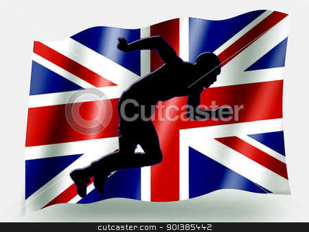 Country Flag Sport Icon Silhouette  UK Athletics Sprint stock photo, Country Flag Sport Icon Silhouette Series  UK Athletics Sprint by Snap2Art